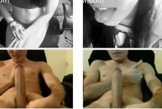 Big White Cock Having Virtual Sex on Webcam Amateur