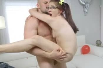 Big White Cock Invading The Litlle Girl With Glasses
